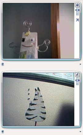 チャットソフトでは自分側の画像(下)が鏡像で写るので左右のまごつきがない