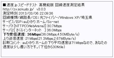 下り受信速度:36Mbps